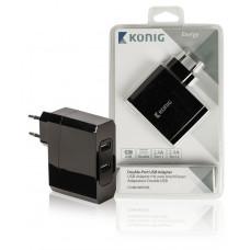 USB lader 2x 2400mA Zwart